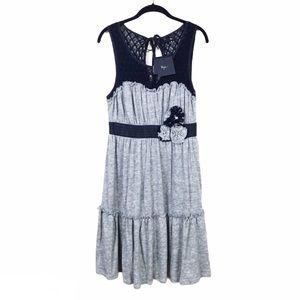 NWT Ryu Gray Sleeveless Ruffle Hem Knit Dress L